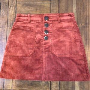 Zara High Waist Button Up Corduroy Skirt